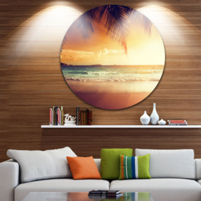 Design Art Palm Leaves on Caribbean Seashore Seashore Metal Circle Wall Art