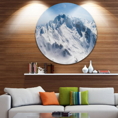 Design Art Snowy Mountains Panoramic View Landscape Metal Circle Wall Art