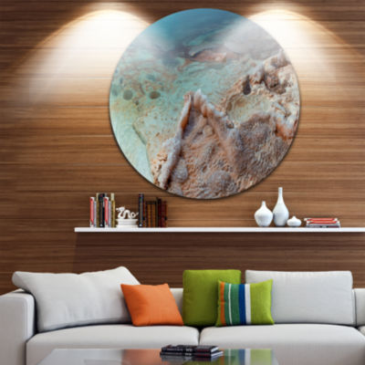 Design Art Dead Sea Shore with Crystallized Salt Landscape Metal Circle Wall Art