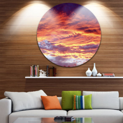 Design Art Colorful Sunset Skies with Clouds ExtraLarge Wall Art Landscape