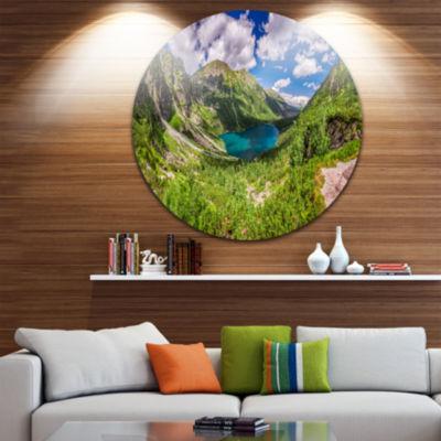 Design Art Green Tatra Mountains and Lake Landscape Metal Circle Wall Art