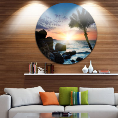 Design Art Lonely Palm Tree on Rocky Beach Seashore Metal Circle Wall Art