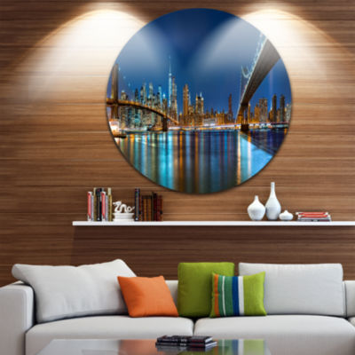 Design Art Brooklyn and Manhattan Bridges Night Cityscape Metal Circle Wall Art