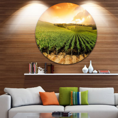 Design Art Sunset Vineyard Panorama Extra Large Wall Art Landscape