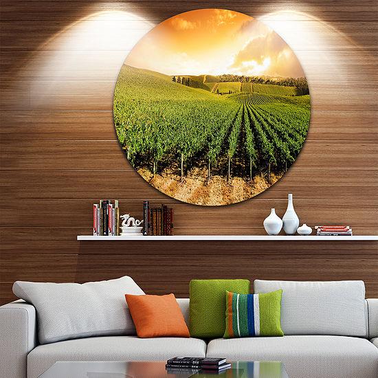 Design Art Sunset Vineyard Panorama Extra Large Wall Art Landscape ...