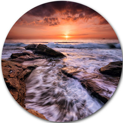 Design Art Waves Hitting Rocky Beach Burgas Bay Seashore Metal Circle Wall Art