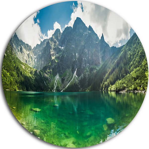 Design Art Green Mountain Lake at Tatras LandscapeMetal Circle Wall Art