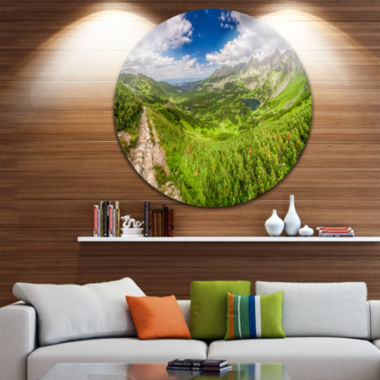 Design Art Mountain Trail in Tatras Panorama Landscape Metal Circle Wall Art