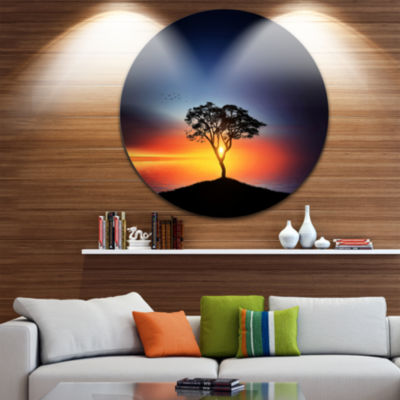 Design Art Beautiful Sunset over Lonely Tree ExtraLarge Wall Art Landscape