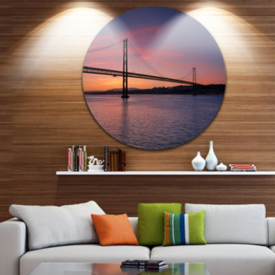 Design Art Wonderful View of Lisbon Bridge Pier Seascape Metal Circle Wall Art