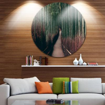 Design Art Bamboo Grove in Arashiyama Panorama Oversized Forest Metal Circle Wall Art