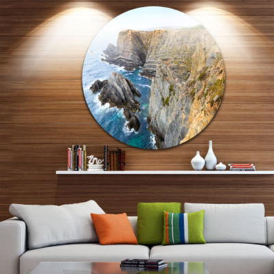 Design Art Blue Rocky Bay Portugal Panorama ExtraLarge Seashore Metal Circle Wall Art