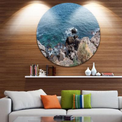 Design Art Blue Waters at Crimean Peninsula BeachSeashore Metal Circle Wall Art