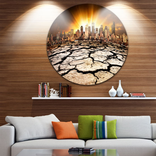 Design Art City with Effect of Climate Change Extra Large Wall Art Landscape