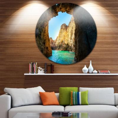 Design Art Sea through Rocky Cave Portugal Extra Large Seashore Metal Circle Wall Art