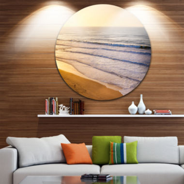 Design Art Stunning Orange Sunset Over Beach ExtraLarge Seascape Metal Wall Decor