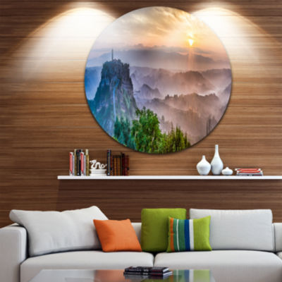 Design Art Bagnoregio at Dusk Italy Panorama Landscape Metal Circle Wall Art