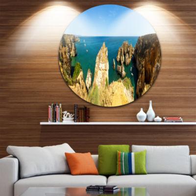Design Art High Cloudy Mountains Panorama Oversized Beach Metal Circle Wall Art