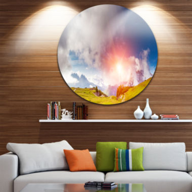 Design Art Cadini di Misurina Range at Sunset Landscape Metal Circle Wall Art