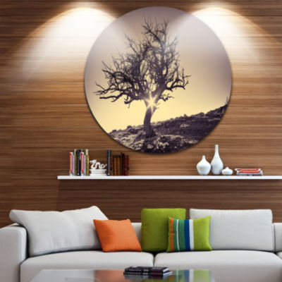 Design Art Lonely Grey Tree in Mountain Extra Large Wall Art Landscape