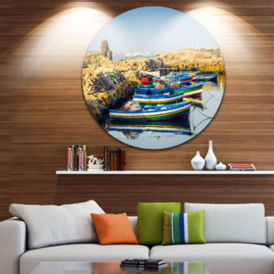 Design Art Ancient Phoenician Port Africa Landscape Metal Circle Wall Art