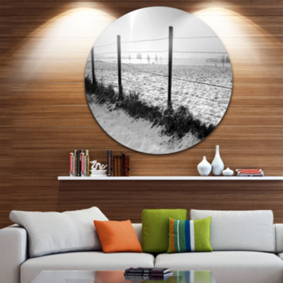 Design Art Landscape in Snow with Fence OversizedBeach Metal Circle Wall Art