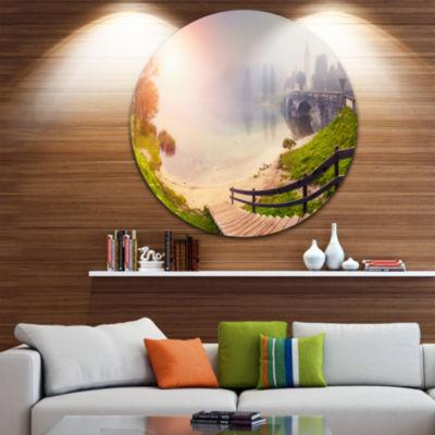 Design Art Majestic Foggy Morning in Lake Landscape Metal Circle Wall Art
