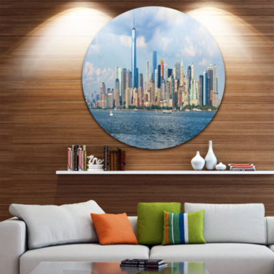 Design Art Lower Manhattan Skyline Panorama Cityscape Metal Circle Wall Art