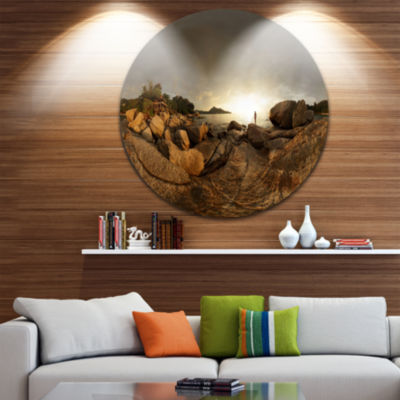 Design Art Brown Rocky Forest Panorama Landscape Metal Circle Wall Art