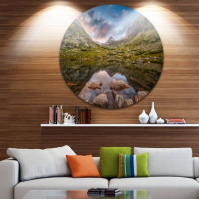 Design Art Rocky Lake above Skok Waterfall Landscape Metal Circle Wall Art