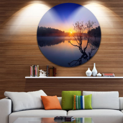 Design Art Lonely Tree in Pond in Blue Extra LargeWall Art Landscape