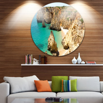 Design Art Rocky and Rough Portugal Bay Extra Large Seashore Metal Circle Wall Art