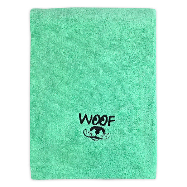 Design Imports Woof Embroidered Microfiber Dog Bath Towel