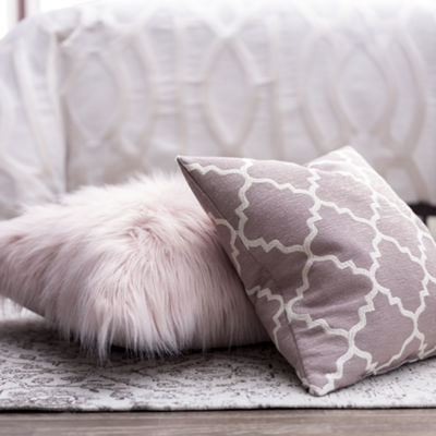 Greer Large Faux Fur Square Decorative Pillow