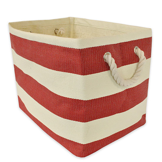 Design Imports Woven Paper Storage Basket with Rope Handles