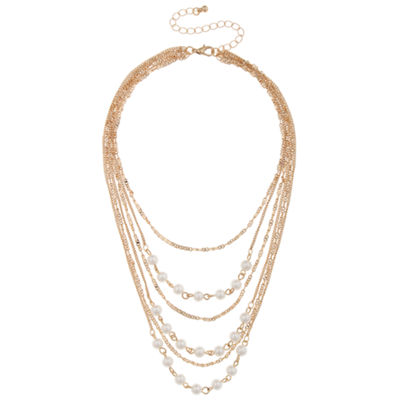 Decree Womens 4MM Simulated Pearl Strand Necklace