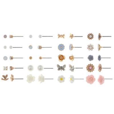 Decree Multi Color Brass Earring Set