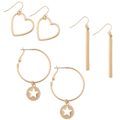Decree 3 Pair Brass Earring Set