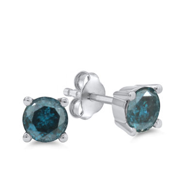 1 1/4 CT. T.W. Blue Diamond 14K White Gold 5.5mm Round Stud Earrings