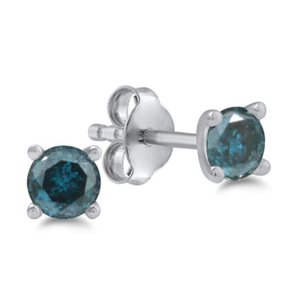 1 CT. T.W. Blue Diamond 14K White Gold 5.1mm Round Stud Earrings