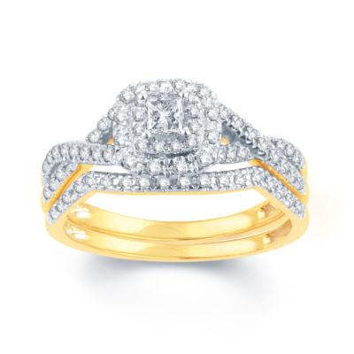 Womens 1/2 CT. T.W. Genuines White Diamond 14K Gold Bridal Set