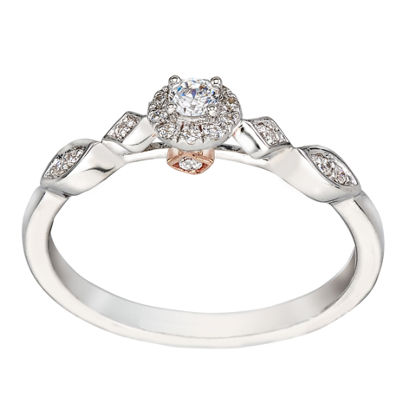 Promise My Love Womens 1/6 CT. T.W. Genuine White Diamond 10K Two Tone Gold Promise Ring