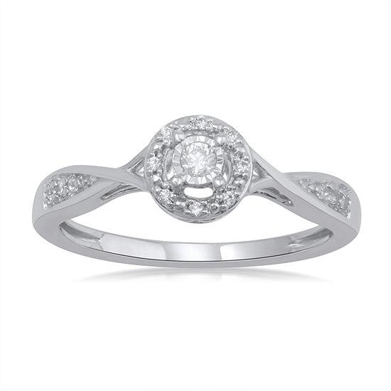 Promise My Love Womens 1/10 CT. T.W. Genuine White Diamond 10K White Gold Promise Ring