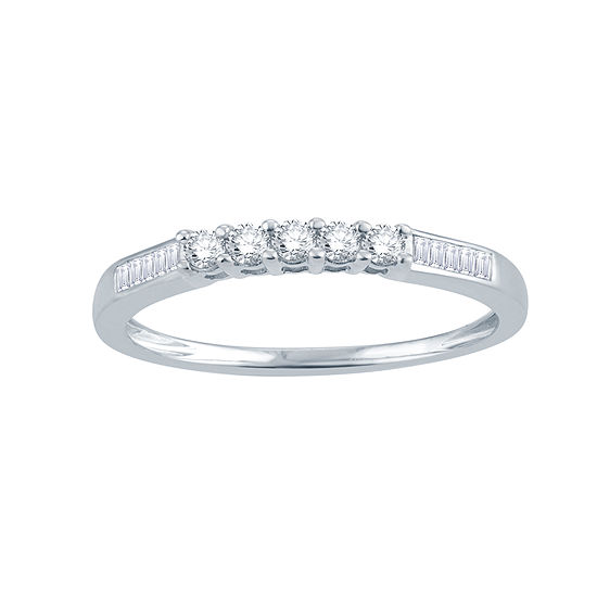Womens 1/4 CT. T.W. Genuine White Diamond 10K Gold Round Wedding Band