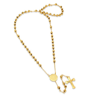 Steeltime Mens 18K Gold Over Stainless Steel Rosary Necklaces