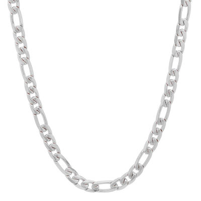 Steeltime Stainless Steel 24 Inch Figaro Chain Necklace