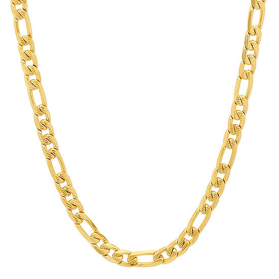 Steeltime 18K Gold Over Stainless Steel 24 Inch Figaro Chain Necklace