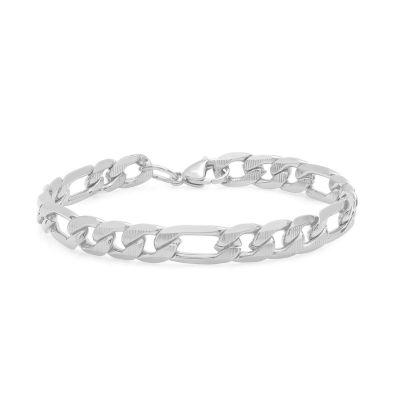Steeltime Stainless Steel 8 1/2 Inch Figaro Chain Bracelet