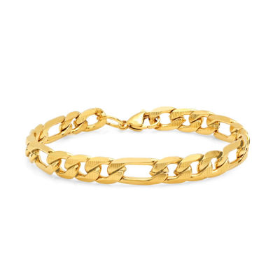 Steeltime 18K Gold Over Stainless Steel 8 1/2 Inch Figaro Chain Bracelet
