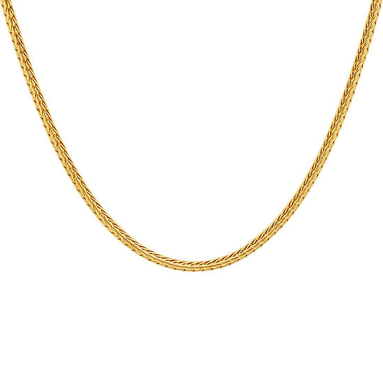 Steeltime 18K Gold Over Stainless Steel 24 Inch Wheat Chain Necklace